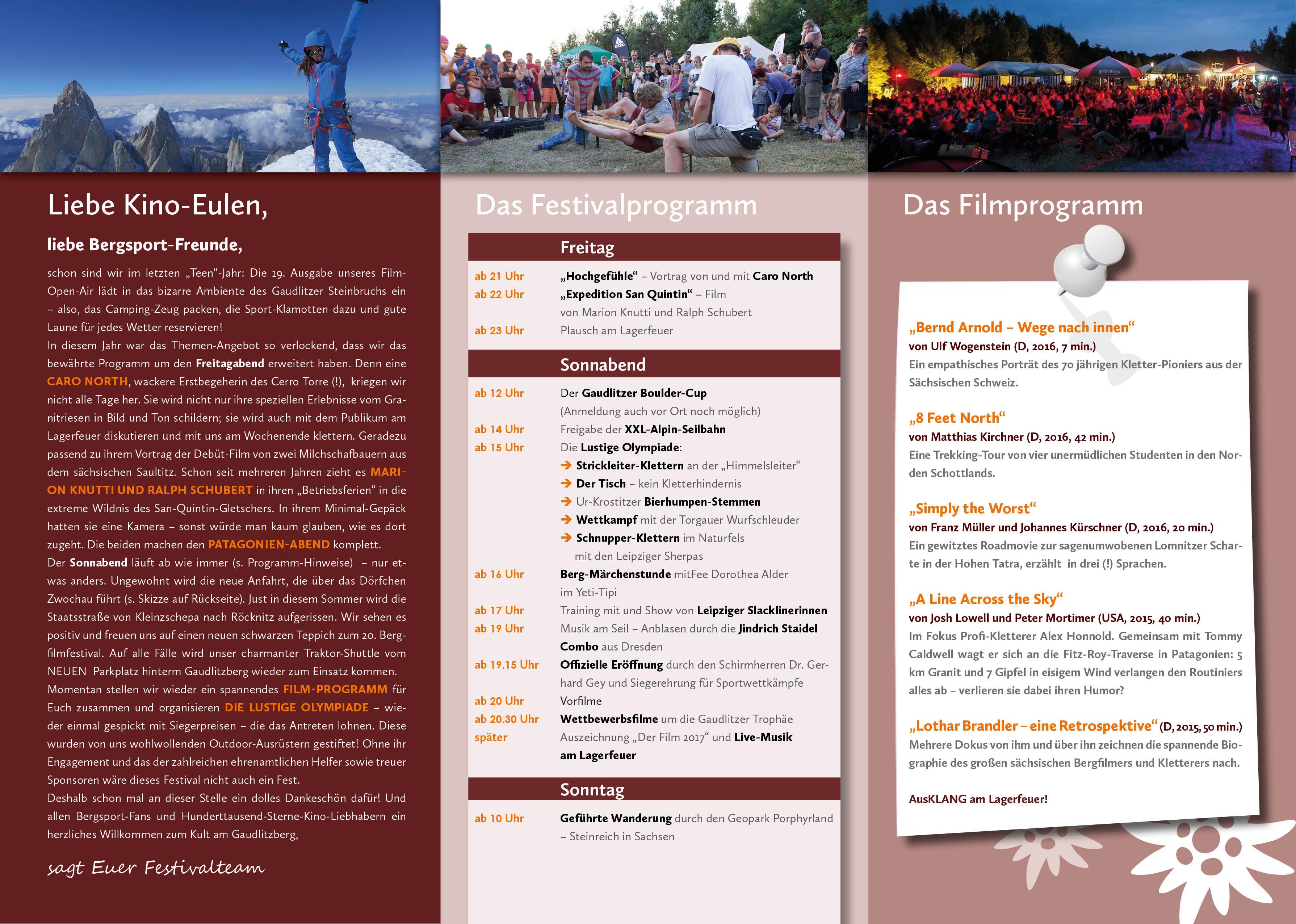 Programm des Bergfilm-Festivals